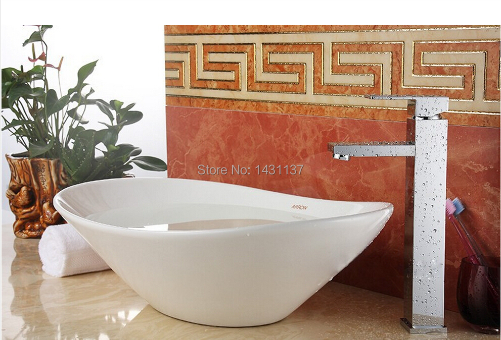 ФОТО  brass material chrome plating modern design high square bathroom sink faucet basin tap mixer