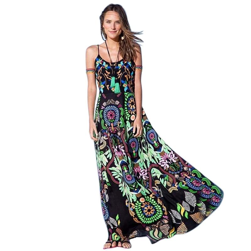 Luxury Vintage Ethnic Dress Sexy Women Boho Floral Printed Casual Beach Dress