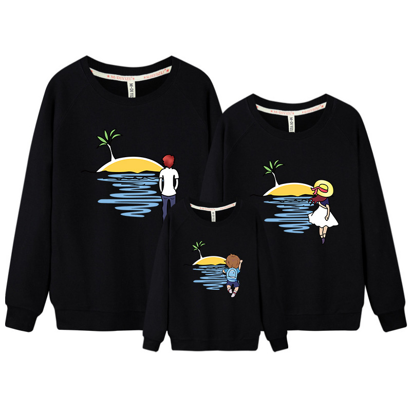 3 pcs/set fleece lining Sweatshirt for Whole Family Spring Shirt Father Mother Son Daugh ...
