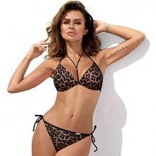 Hot Leopard Bikinis Set Women Padded Bra Top Swimsuit 2019 Plus Size Panties with String Swimwear Push up Swimming Bathing Suit