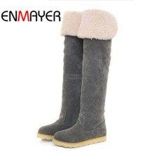 ENMAYER Over-the-Knee Boots For Women Big Size34-43 Flock Round Toe Winter Nubuck Leather Long New Flats Motorcycle