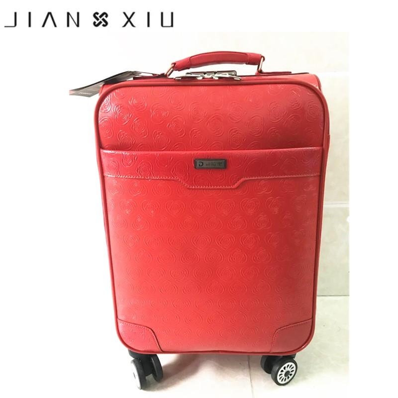 Genuine Leather Waterproof Red Luxury Women Rolling Luggage Suitcase Designer 24 Inches High Quality 4 Wheel Spinner Airport Bag