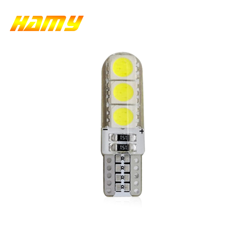 1x T10 W5W Car LED Bulb Turn Signal Light Auto Interior Dome Reading Light License Plate Wedge Side Super Bright White 12V 6SMD