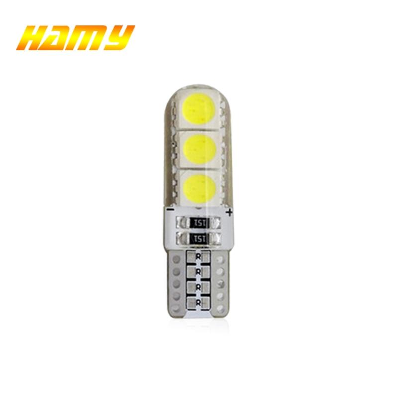 1x T10 W5W Car LED Bulb Turn Signal Light Auto Interior Dome Reading Light License Plate Wedge Side Super Bright White 12V 6SMD