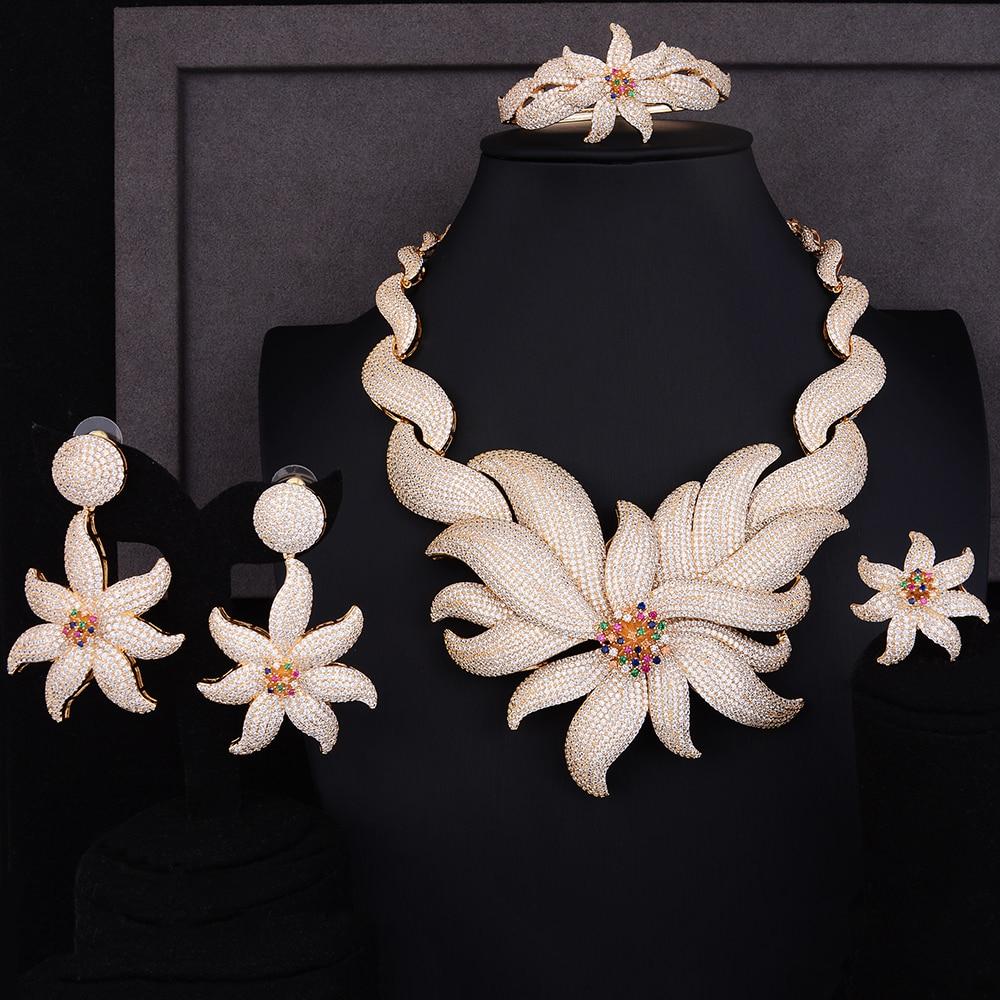 GODKI luxe mer étoile de mer fleur cubique Zircon boucle d'oreille collier ensemble Birdal bijoux ensembles pour femmes perles africaines bijoux ensembles 2018