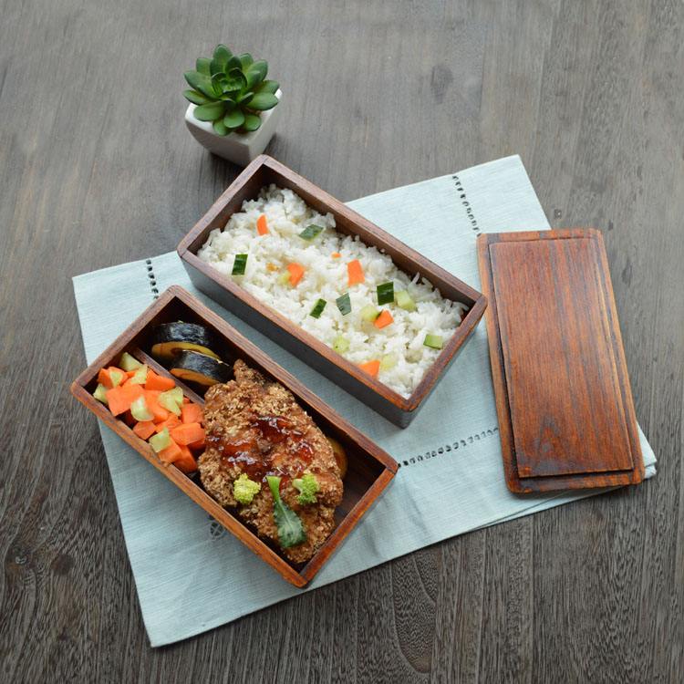 japanese double deck wood lunch box wooden bento lunch boxes student shu food container for food. Black Bedroom Furniture Sets. Home Design Ideas