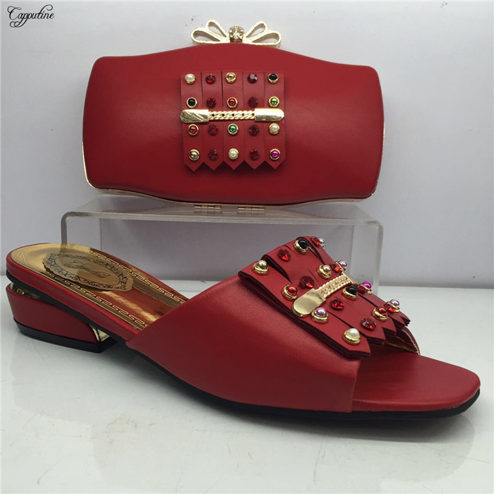 Pretty red with stones African slip-on shoes and purse handbag set for party GY20, heel height 4cmPretty red with stones African slip-on shoes and purse handbag set for party GY20, heel height 4cm