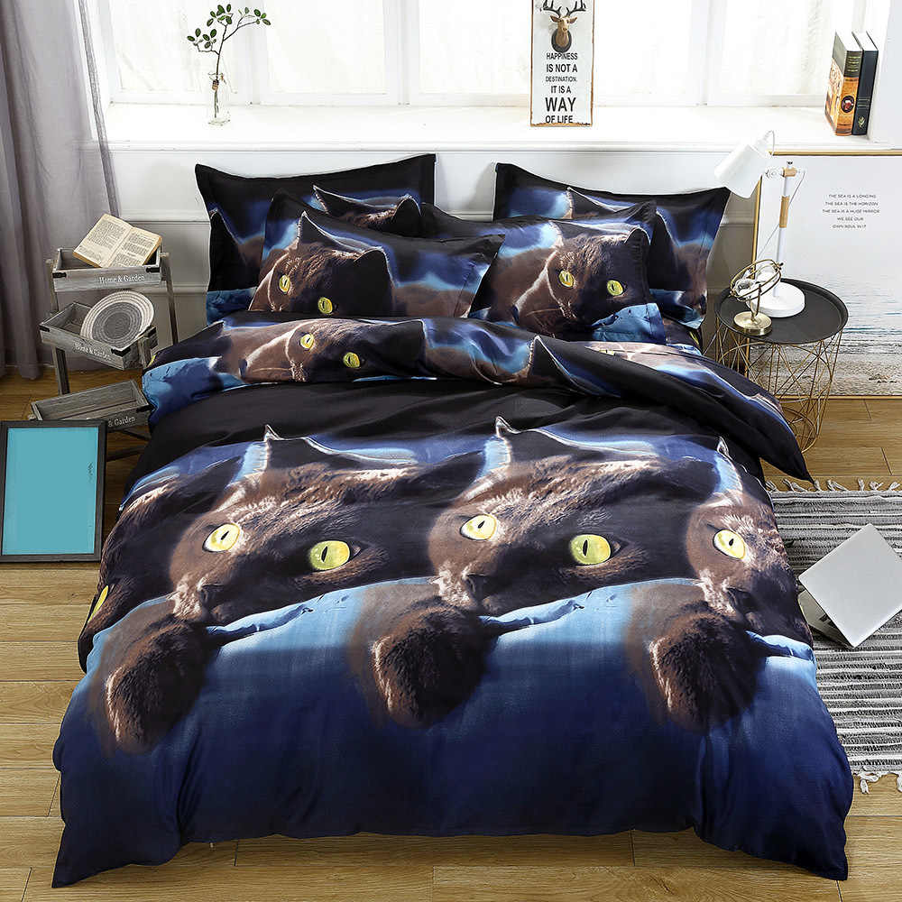 4pcs/set 3D Cat Printed Pattern Bedding Set Duvet Cover Bed Sheet 2PCS Pillowcase Polyester Bedding Kit Bedclothes Bedroom Decor