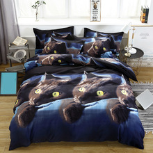 4pcs/set 3D Cat Printed Pattern Bedding Set Duvet Cover Bed Sheet 2PCS Pillowcase Polyester Kit Bedclothes Bedroom Decor