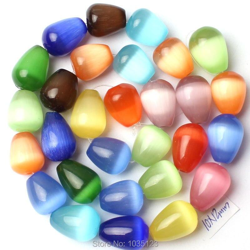 Free Shipping AAA 10x12mm Mixed Color Cat Eye Stone Drop Shape Gem Loose Beads Strand 15 DIY Creative Jewellery Making w2728