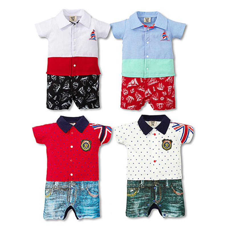 2016 Newborn Baby Boy Rompers Summer Cotton Gentleman Suit ...