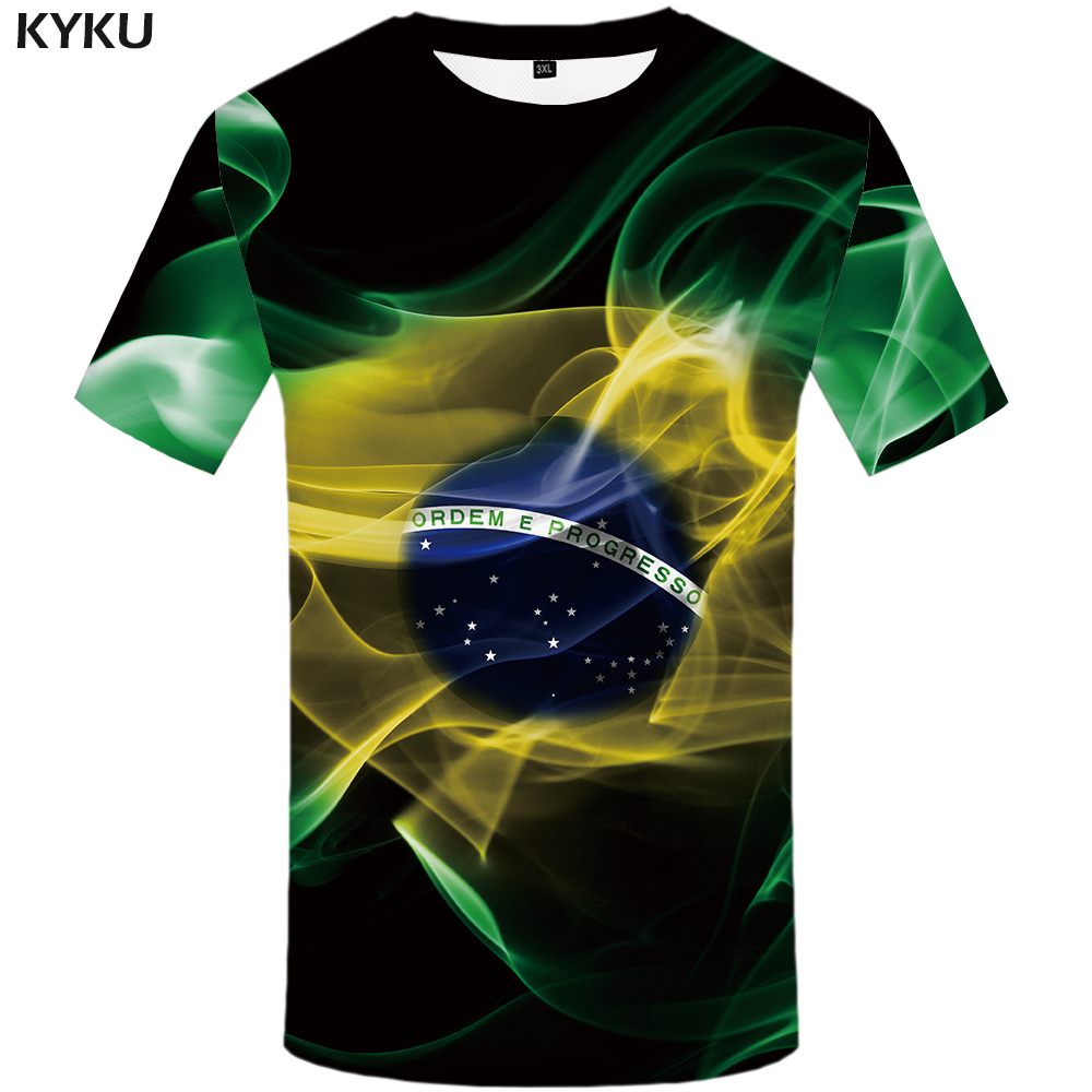 KYKU Brazil Tshirt Men Green Flame T-shirt Hip Hop Tee Black Print T Shirt 3d Gothic Punk Rock Mens Clothing Summer Streetwear