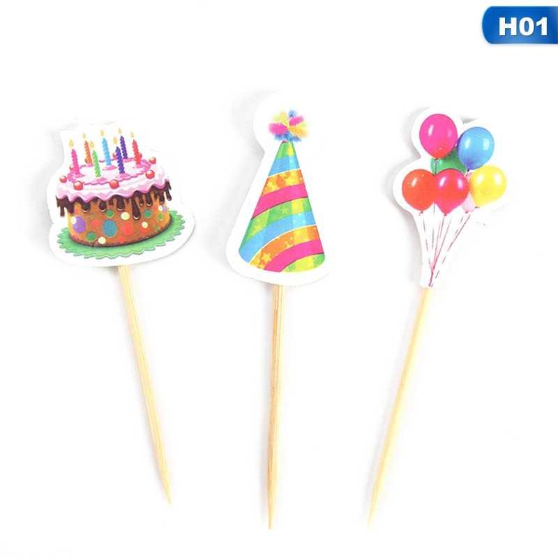 3 ชิ้นหมวกบอลลูน Cupcake Toppers Picks วันเกิดตกแต่งเด็กอาบน้ำเด็ก Gilr Favors เค้กตกแต่ง
