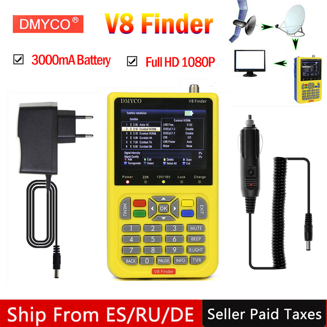 DMYCO HD Digital Satellite Finder MPEG-4 For DVB-S/DVB-S2 TV Receiver 3.5 inch LCD display LNB Satellite Meter Signal satFinder