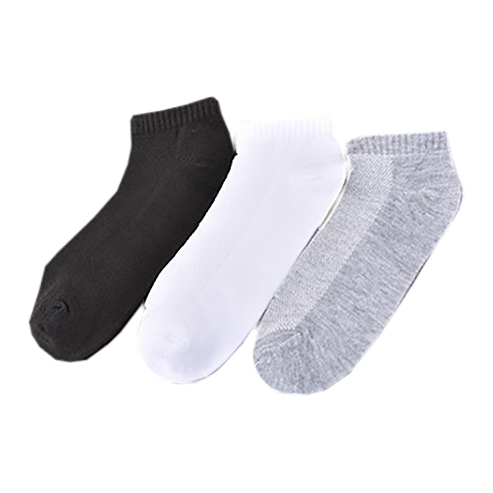 Fashion New Solid Color Mens Socks Good Quality Casual Mesh Summer Breathable Ankle Sock For Men Back Grey White