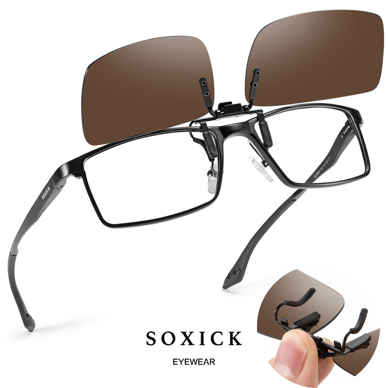 Soxick Driving Glasses Clip-on Stylish Polarized Sunglasses For Golf Fishing Outdoor Activities Metal Clip On Unisex Eye Wears