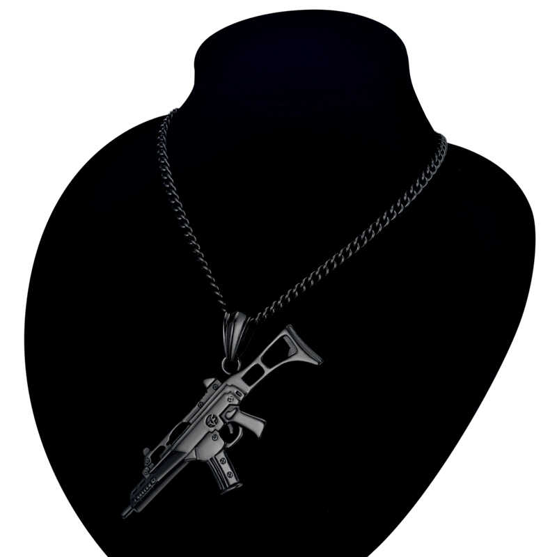 Niemcy styl pistolet wisiorek naszyjnik Hip Hop mężczyźni biżuteria czarny/złoty kolor ze stali nierdzewnej Schmuck G36K Maxi komunikat naszyjniki