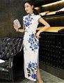 Primavera Verano 2017 Nueva Elegante de la Impresión Floral Vestido Largo Cheongsam Temperamento Vestidos Chinos Cahrming Qipao Atractivo Delgado Ropa