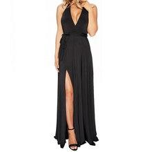 Abfer fashion damen sleeveless v-ansatz halter unregelmäßigen sexy spaghettibügel dress schlank abendkleider three farben s-xl größe