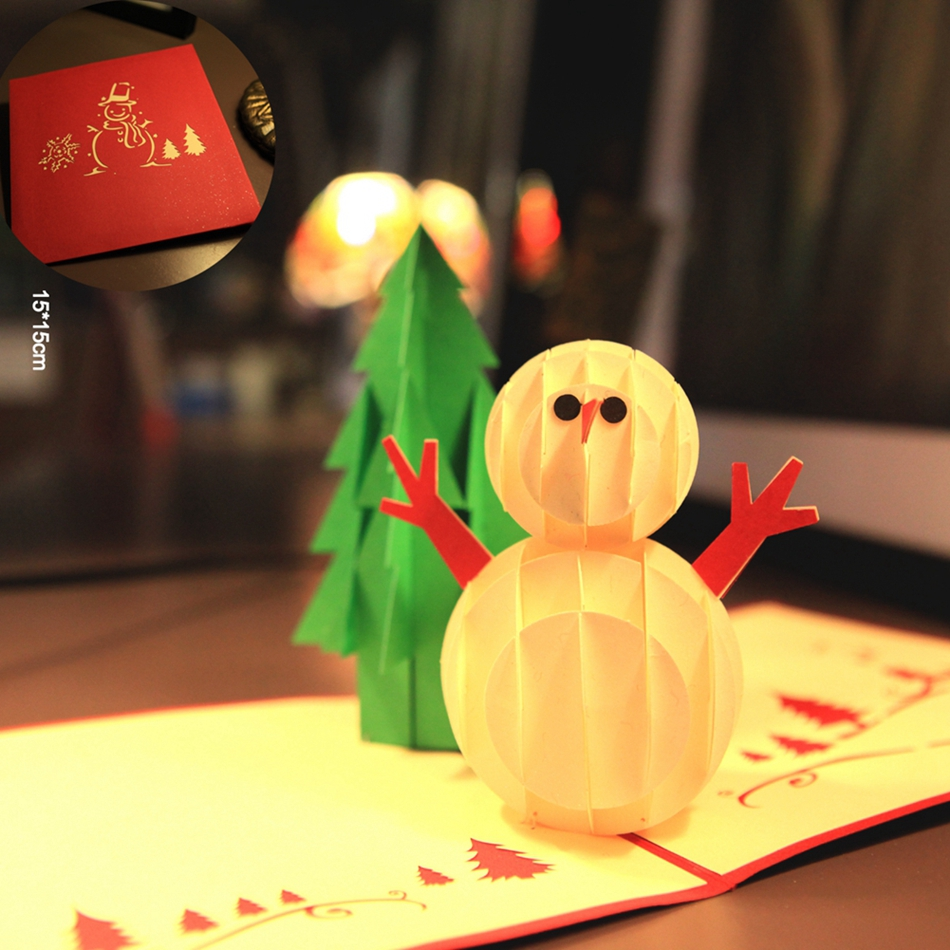 Christmas Tree & Snowman 3D laser cut pop up paper handmade postcards custom Christmas greeting cards gifts souvenirs 9017