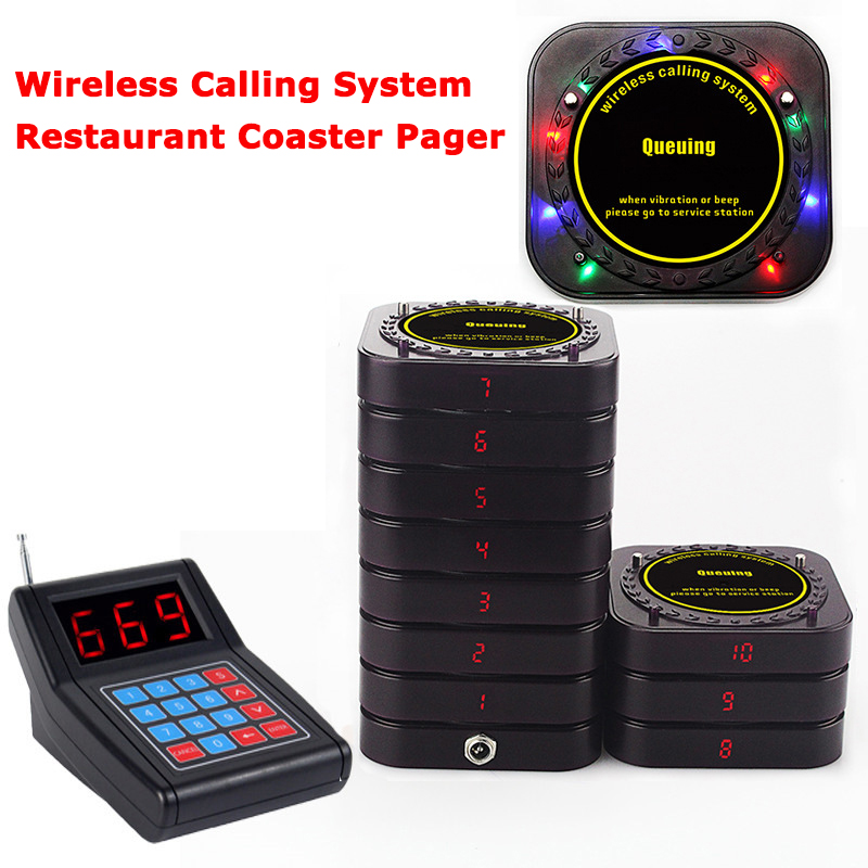 UEEVII Wireless Restaurant Equipment Calling Queuing System 1 Transmitter+10 Receivers