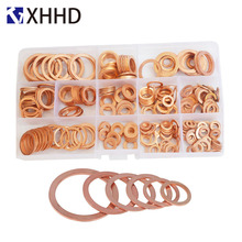 Flat Copper Washer Metal Solid Gasket Sump Plug Oil Seal Ring Fitting Assortment Kit Set Box M5 M6 M8 M10 M12 M14 M16 M18 M20 280pcs copper washers set m5 m20 solid copper washer gasket sealing ring assortment kit set with case 12 sizes