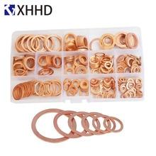 Flat Copper Washer Metal Solid Gasket Sump Plug Oil Seal Ring Fitting Assortment Kit Set Box M5 M6 M8 M10 M12 M14 M16 M18 M20