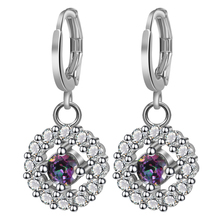 New Fashion Drop Earrings hollow Jewelry Trendy Silver Color Rainbow Austrian Crystal Earring Snow Shaped Wedding For Women Gift цена