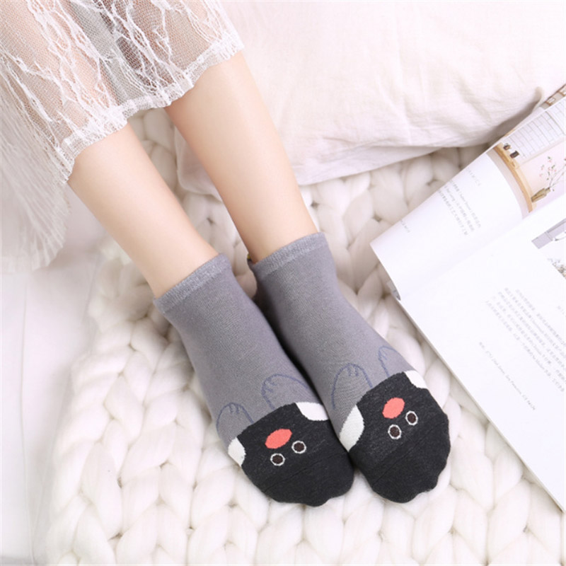[EIOISAPRA]Spring/Summer Stealth Lovely Ankel Cartoon Cotton Socks Women Ears harajuk Candy Color Comfort Short Socks