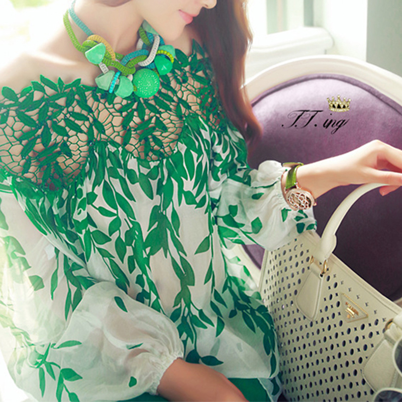 Plus Size Long Sleeve Chiffon Blouse Embroidery Floral Green Leaves Print Female Shirt Lace Hollow Out Button Shirts Top Women
