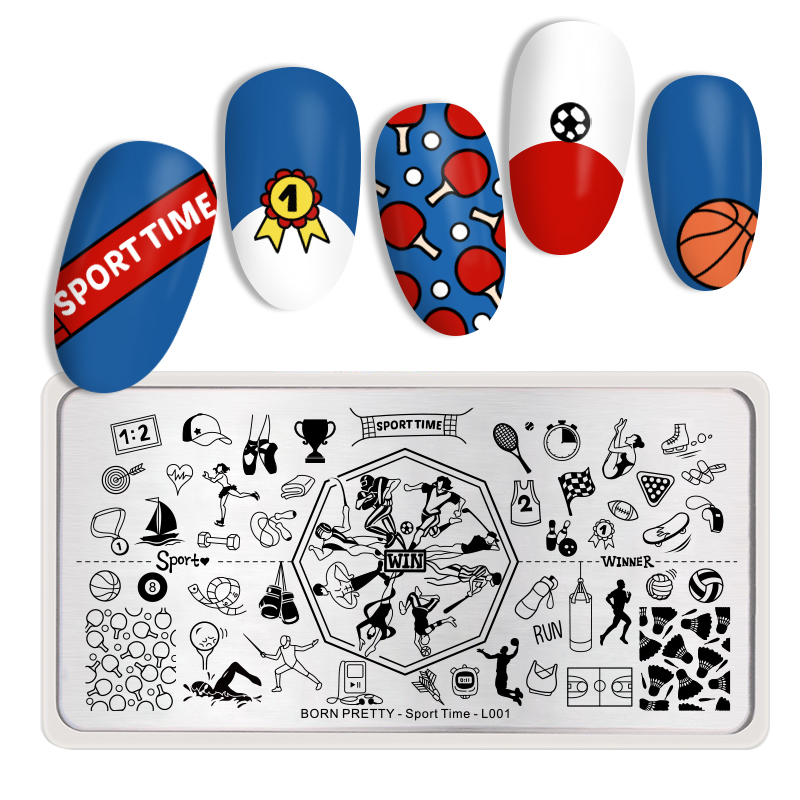 <font><b>BORN</b></font> <font><b>PRETTY</b></font> Rectangle Nail Stamping Plate Stainless Steel Basketball Bowling Sport Time Image Nail Art Design Tools <font><b>L001</b></font> image