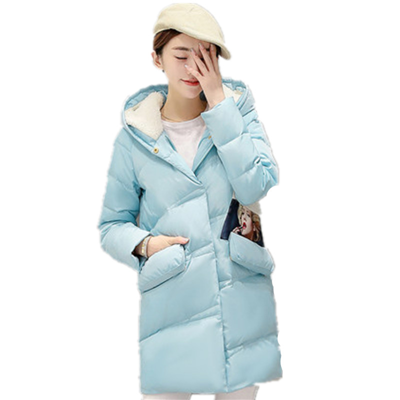 2016 New Winter Women Down Cotton Jacket Long Thick Parkas Female Hooded Cotton Padded Fashion Warm  Plus Size Outerwear WY069