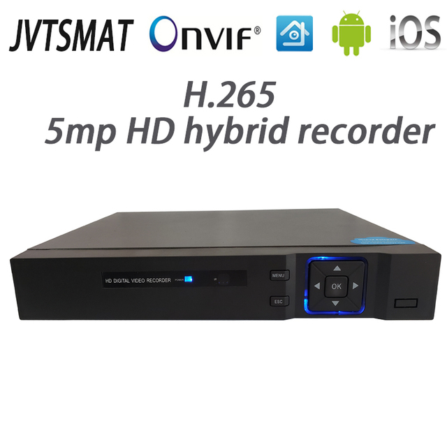 Jvtsmart AHD DVR 4 ערוץ 8 ערוץ H.265 5mp 4 m היברידי וידאו מקליט CCTV AHD CVI TVI אנלוגי IP אבטחת 1080 P NVR 4CH 8CH xm