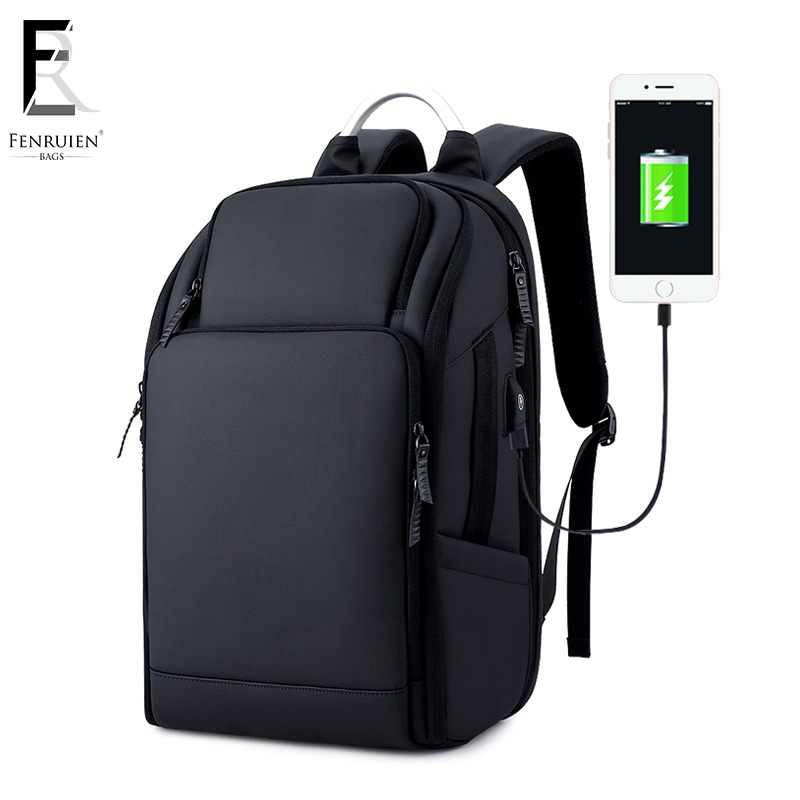 1c20650f798 FRN Business Men s Backpack Black USB Charging Anti Theft Laptop Backpack  17 Inch Male Large Capacity
