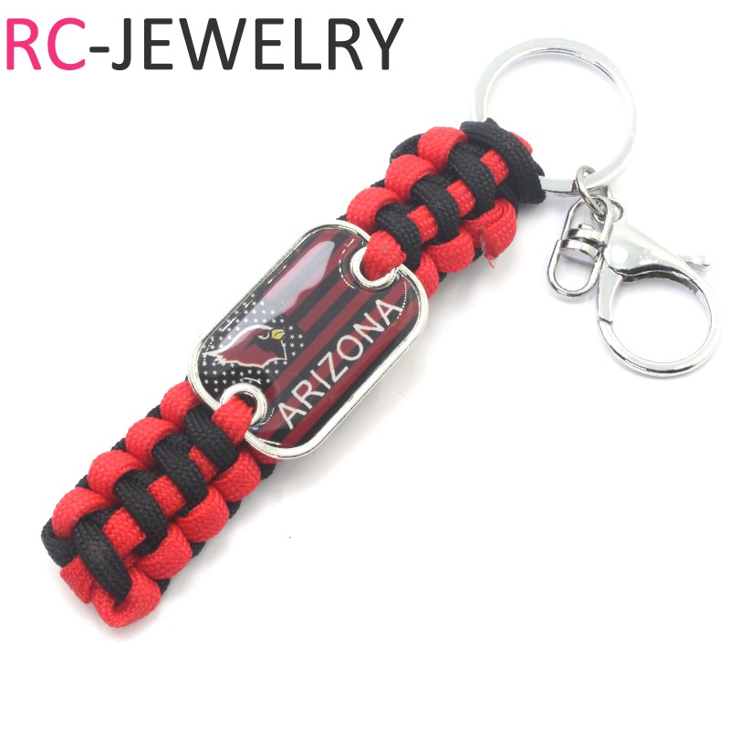 2# American football Arizona Cardinals team flag survival Paracord Keychains sports football fans gifts