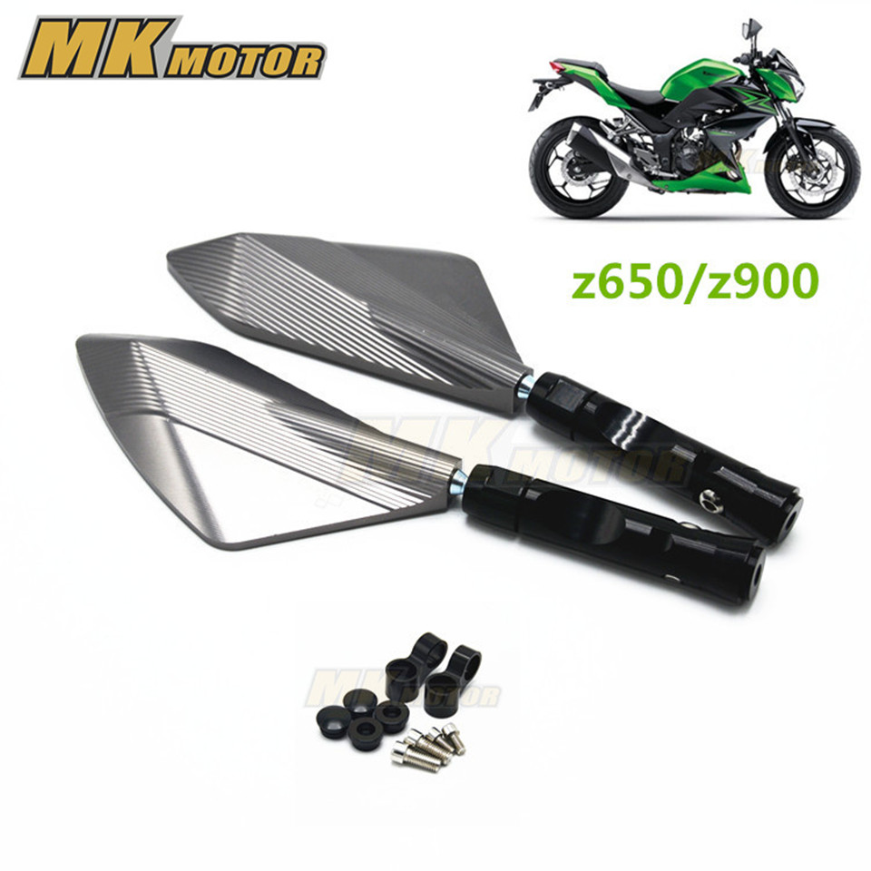 Free shipping Motocycle  Aluminum CNC motorcycle Side mirror rearview accessories Fits For Kawasaki Z900 Ninja650 z650 motorbike mirrors motorcycle accessories side mirror cnc aluminum mirror rearview for benelli 600 bn600 bn300 bmw k1300 k120