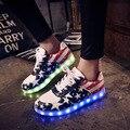 Eur размер 30-42 USB зарядка shoes для детей мальчиков девочек ВОДИТЬ световой shoes Lace-Up повседневная плоским shoes ПРИВЕЛИ детей кроссовки 3 цвета