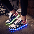 Eur tamaño 30-42 shoes para los niños muchachas de los muchachos de carga usb led luminoso shoes con cordones planos ocasionales shoes led niños sneakers 3 colores