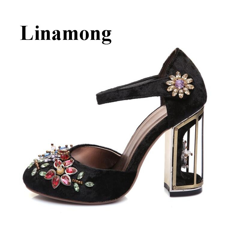 2018 Retro Flock Round Toe Gem Crystal Flower Fashion Birdcage Design Chunky Heel Buckle Strap Cover Heel Women Pumps trendy women s pumps with flock and ankle strap design
