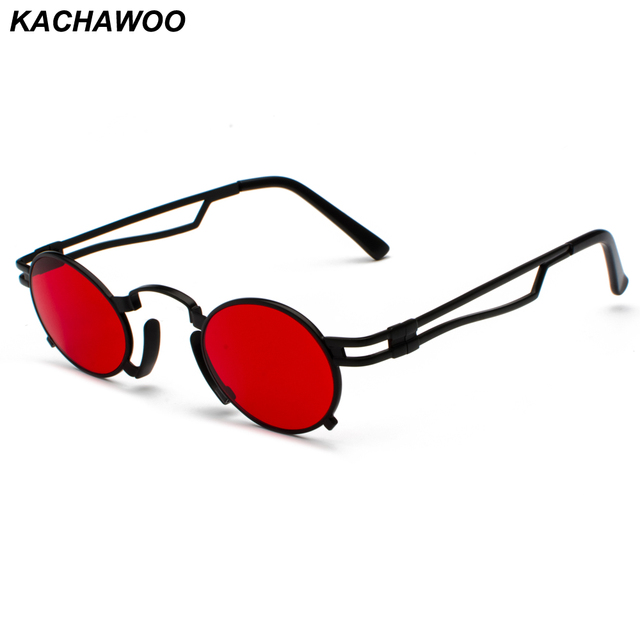 c8b2ea89e46 Kachawoo wholesale 6pcs vintage small oval sunglasses men gold frame retro  steam punk sun glasses women summer beach accessories