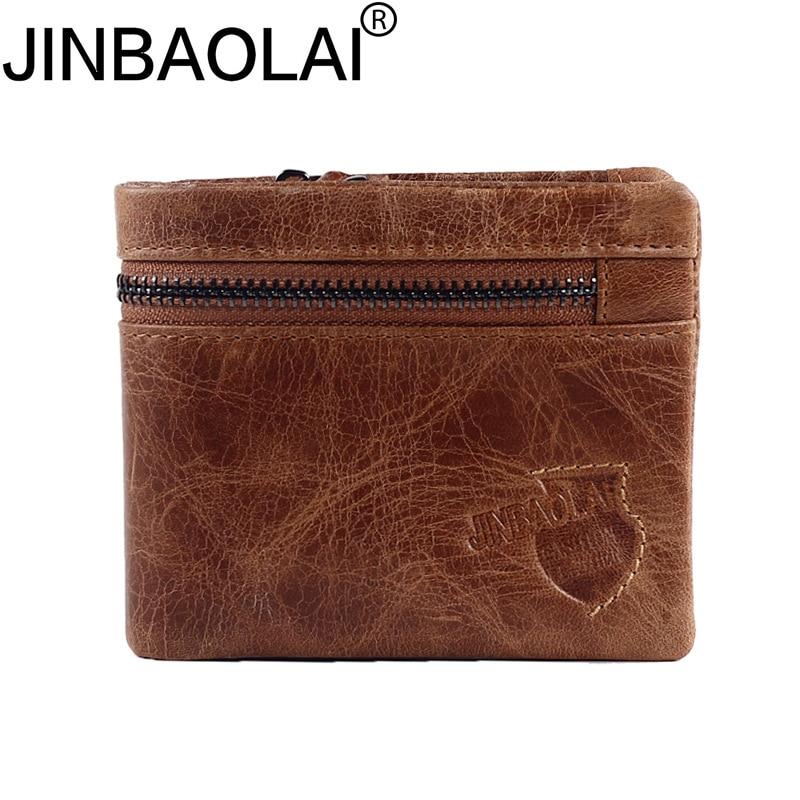 Handy Portfolio Zipper Genuine Leather Men Wallets Purse Small Male Clutch Bags Money Portomonee Card Holder Walet Cuzdan Vallet