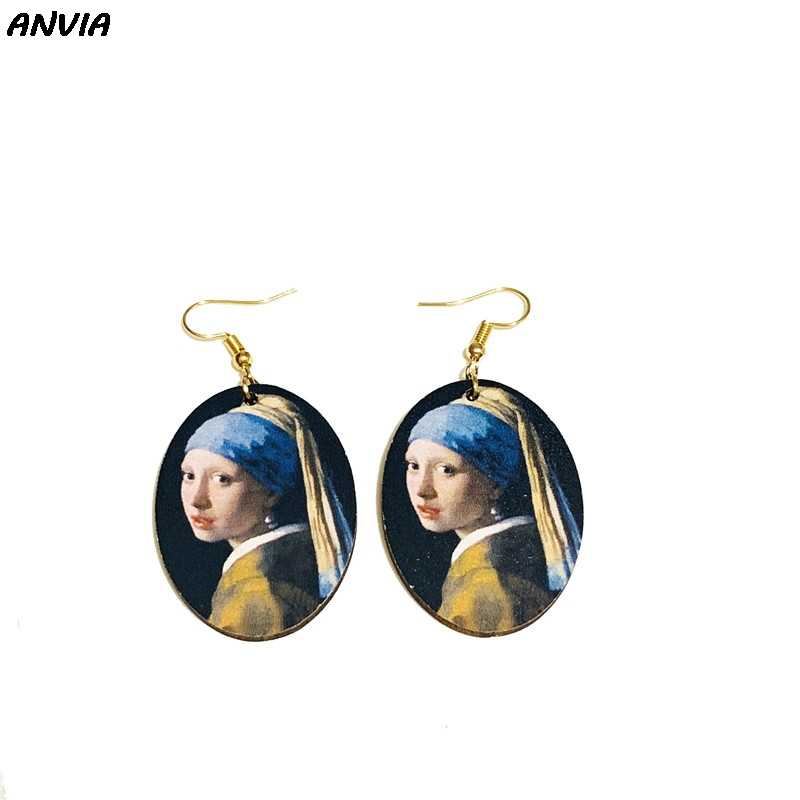 Vintage Oil Painting Drop Earrings Mona Lisa Girl With A Pearl Earring Painting Women Wooden Oval Statement Big Dangle Earrings