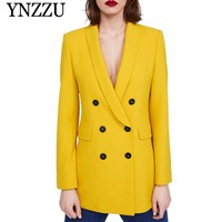 Yellow Shawl Collar Double Breasted Blazer Women Buttons Long Blazer 2019 Spring Elegant Ladies Workwear Solid Jackets AO922