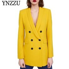 Yellow Shawl Collar Double Breasted Blazer Women Buttons Long Blazer 2019 Spring Elegant Ladies Workwear Solid Jackets AO922 недорого