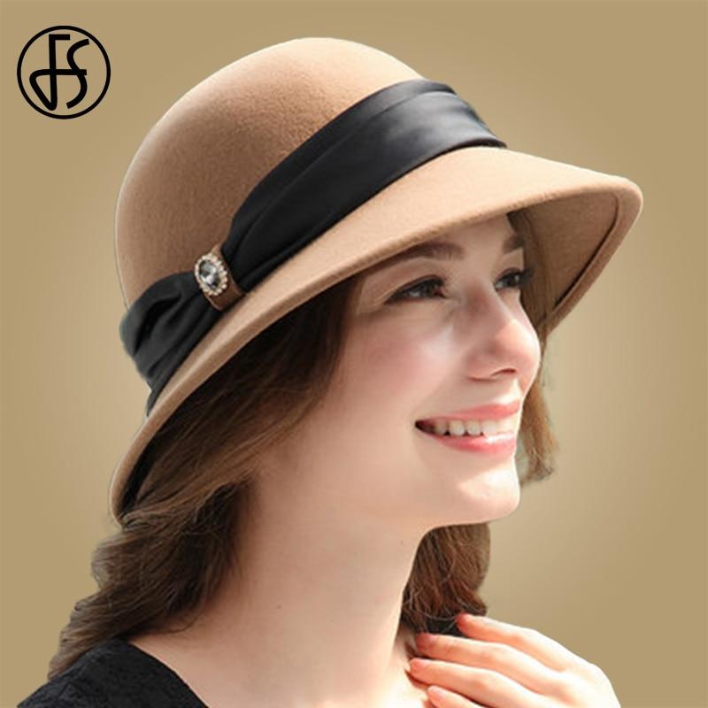 c0c0dc0a2d989 FS Elegant Women Wool Felt Fedora Wide Brim Hat Cloche Bowler Autumn Winter  Church Hats Chapeau Femme Caps Wine Red Black Dark