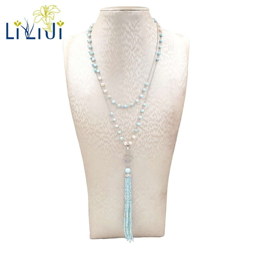 Lii Ji Natural Larimar, Freshwater Pearl 925 Sterling Silver 925 Sterling Silver Shining Long Necklace 79cm for Women Jewelry