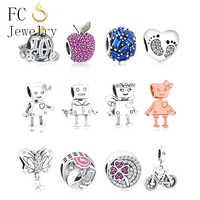 Fit Original Pandora Charms Bracelet Real 925 Silver Robot Pendant Charm Beads Berloque DIY Jewelry For Christmas Gift