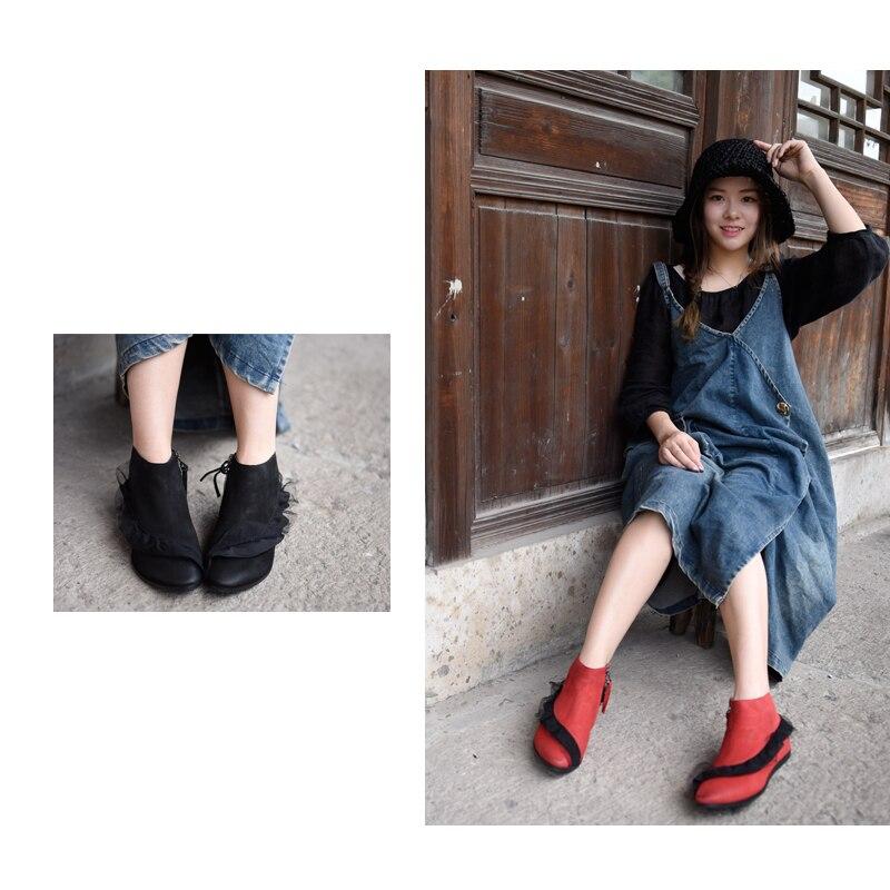 Grúa Cuero Original Genuino Artmu De Zapatos Black A 2019 Hecho Elegante F60822 Plana Botas Mujer Volantes Nuevo Mano Tobillo red Señaló OxOqwd7E1