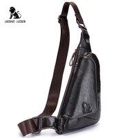 Genuine Leather Man's Chest Bags Crossbody Handbag Triangle Messenger Shoulder Blosa Phone Small Mochila Business Travel Gift
