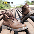 SERENE 2017 Men Shoes Male Shoes Big Size Leisure Martin Boots High Quality Leather Outdoor Work Shoes British style Warm 3166